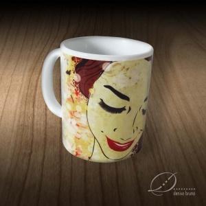 Caneca de porcelana ilustrada Luzes de Primavera