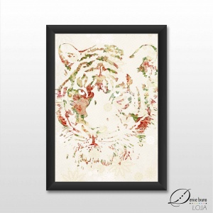 Pôster decorativo ilustrado - Selvagem I - tigre