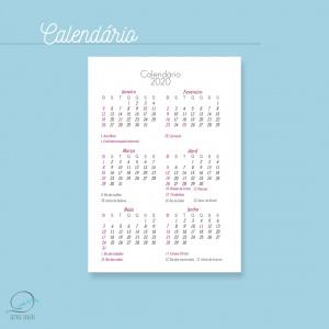 Mini agenda A6 2020 para impressão - calendário