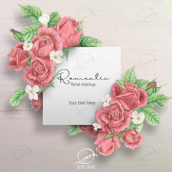 Mockup cartão romântico floral