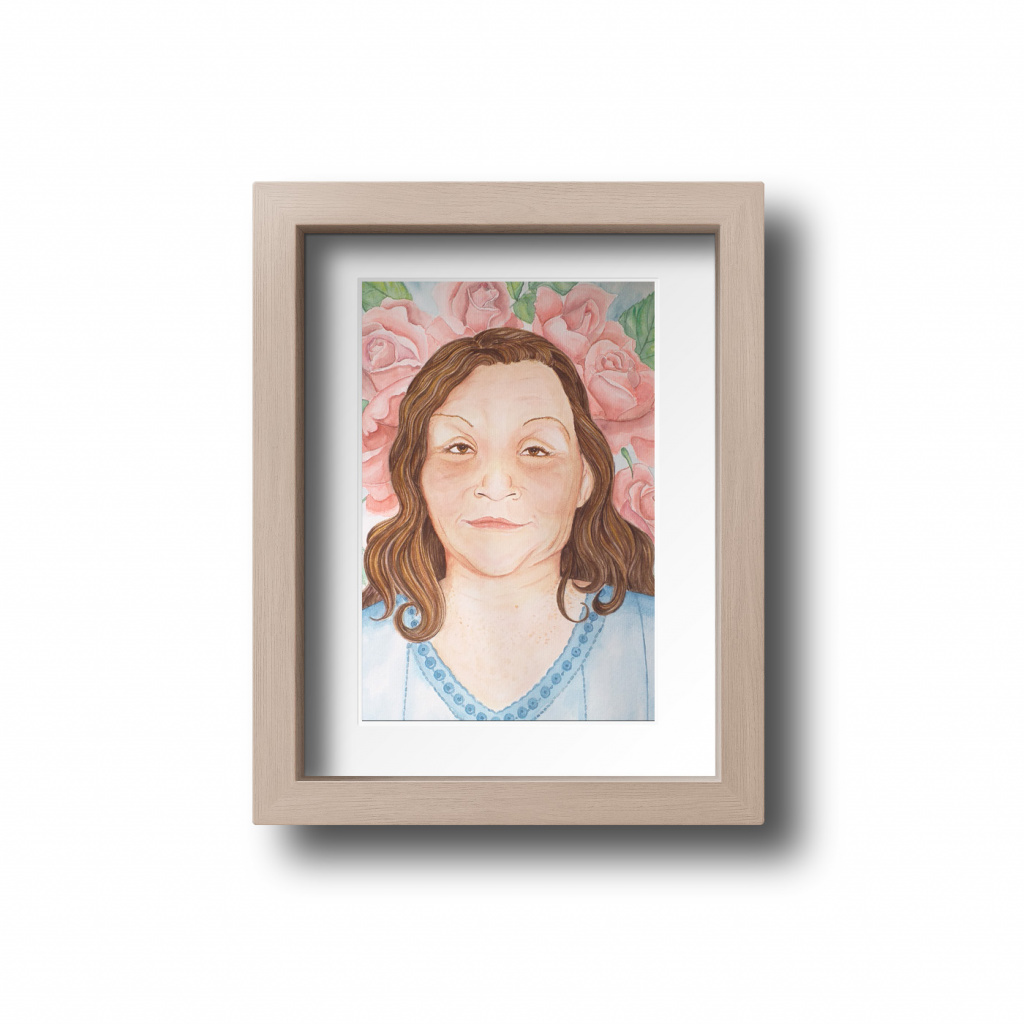 Ilustração personalizada do rosto em aquarela