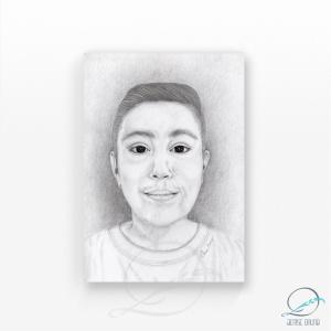 Ilustração retrato personalizado menino em grafite