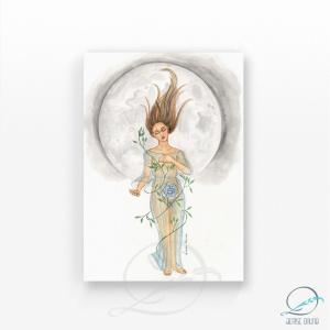 Aquarela original filha da lua