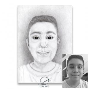 Ilustração personalizada do rosto em grafite